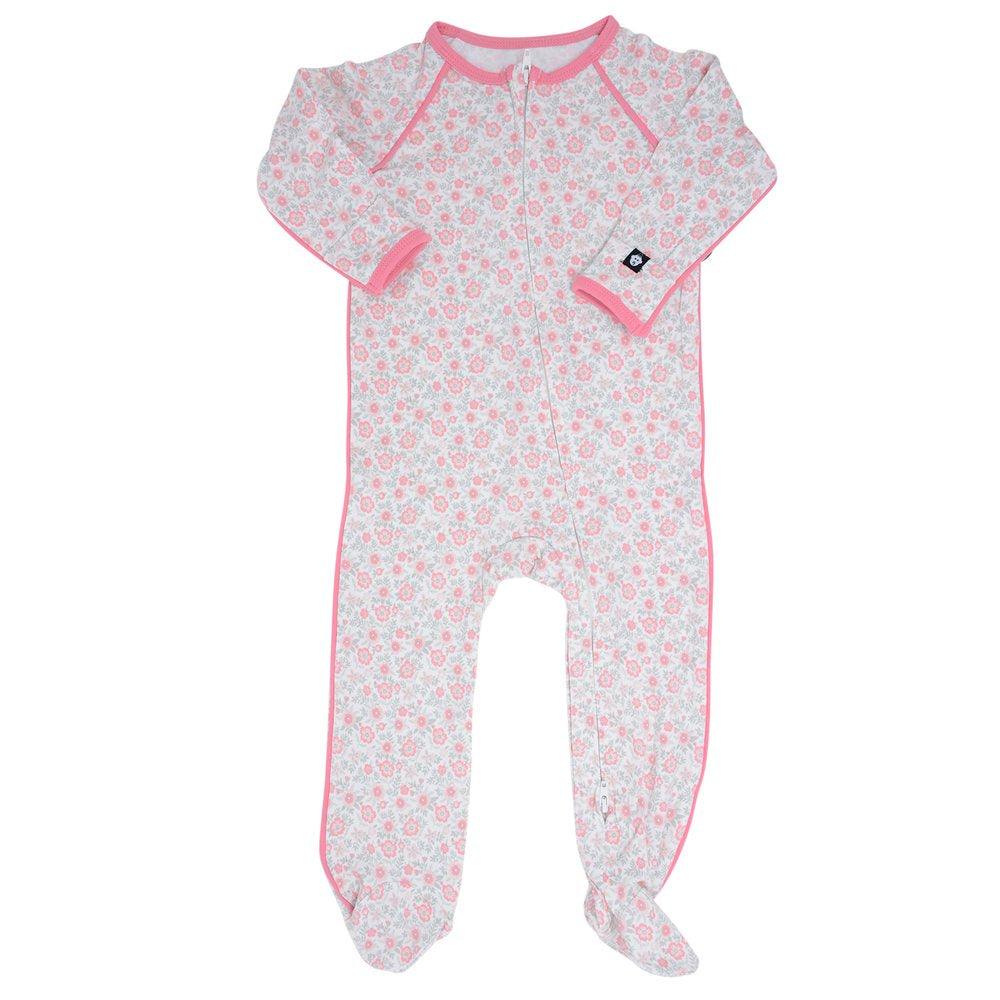 Sweet Bamboo Pink Flower Footie