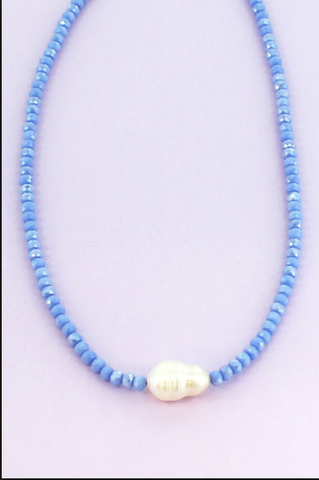 Faceted Bead Necklace with Pearl