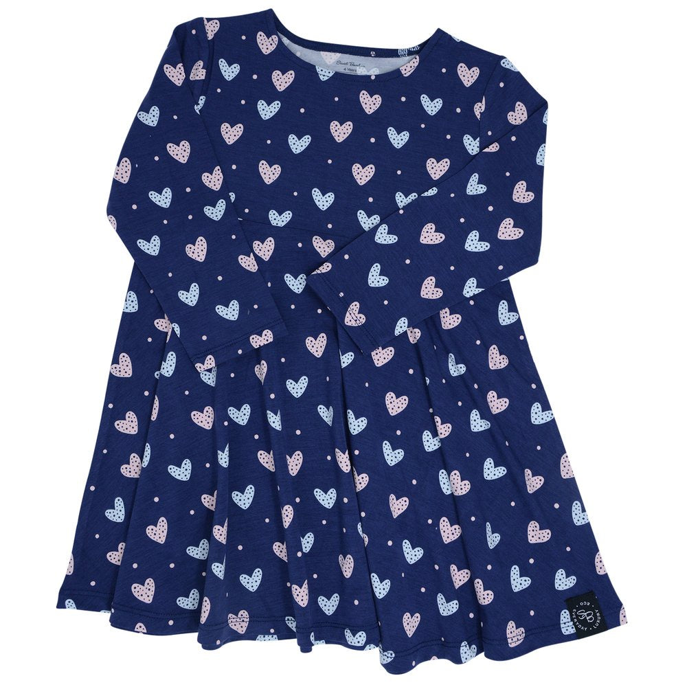 Sweet Bamboo Navy Hearts Dress