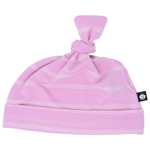 Sweet Bamboo Pink Pinstripe Knot Hat