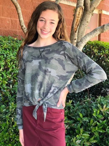 Camo Waffle Tie Front Top