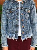 Tractr Cropped Frayed Denim Jacket