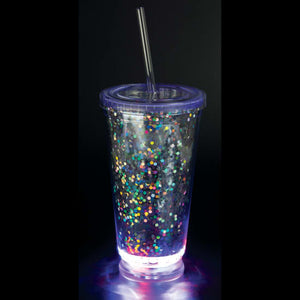 Light-Up Glitter Cup with Straw
