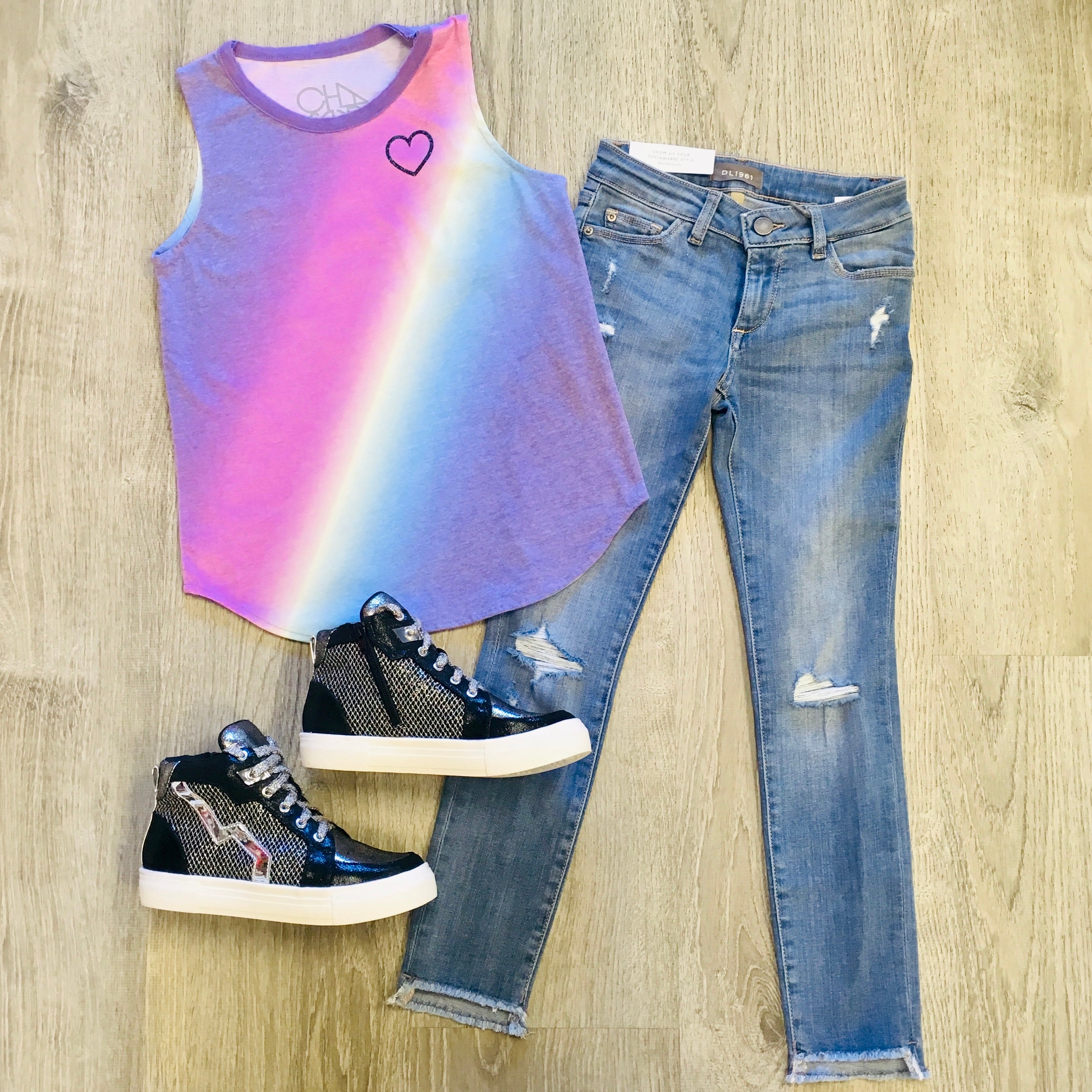 Chaser Rainbow Heart Top