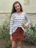 Striped Waffle Button Front Top