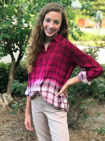 Ombre Plaid Button Top