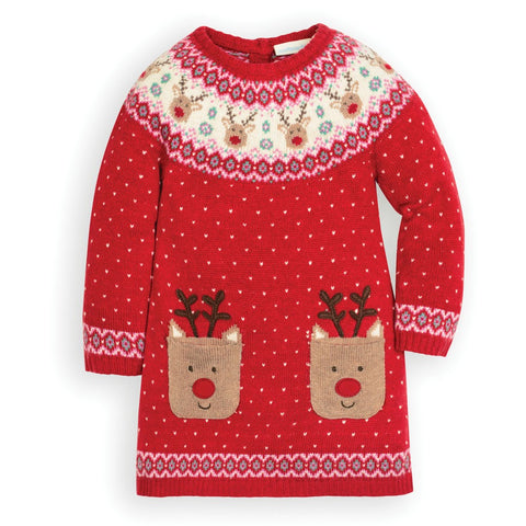 JoJo Reindeer Fair Isle Dress