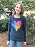 Chaser Watercolor Heart Pullover