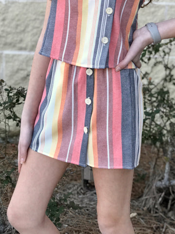 Buttons Striped Skirt