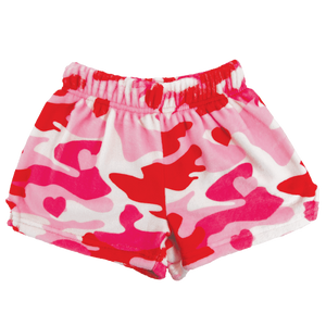 Camo Heart Plush Pajama Shorts