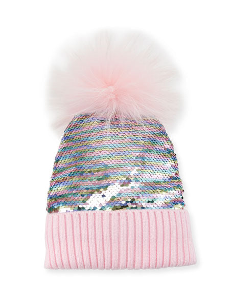 Bari Lynn Reversible Sequin Fur Hat