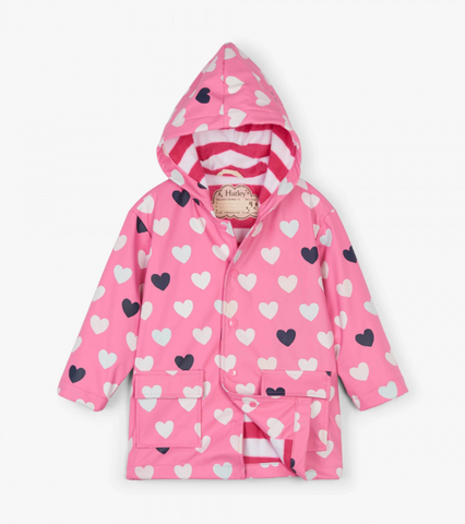 Coloring-Changing Hearts Splash Raincoat