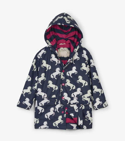 Hatley Playful Horses Color Changing Raincoat