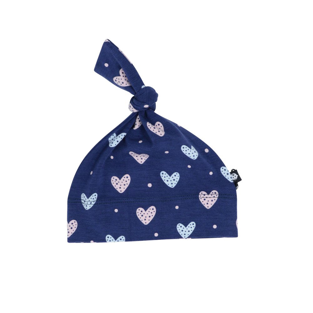 Sweet Bamboo Navy Hearts Knot Hat