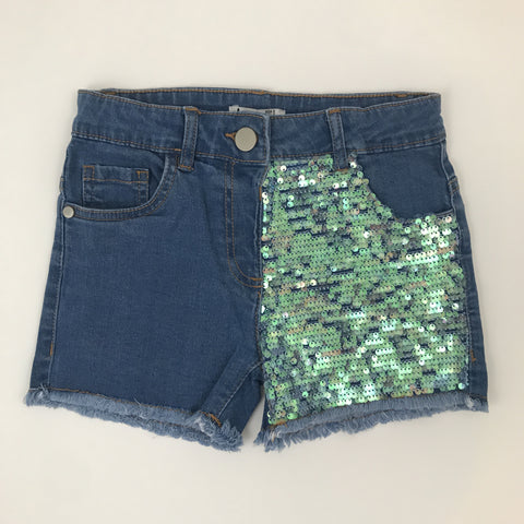 Sequin Frayed Denim Short
