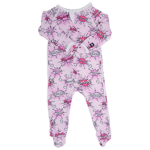 Sweet Bamboo Pink SuperHero Footie