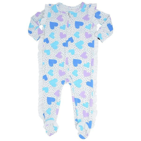 Sweet Bamboo Dot Hearts Ruffle Footie
