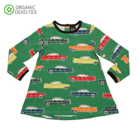 Villervalla Retro Car Tunic Pine Green