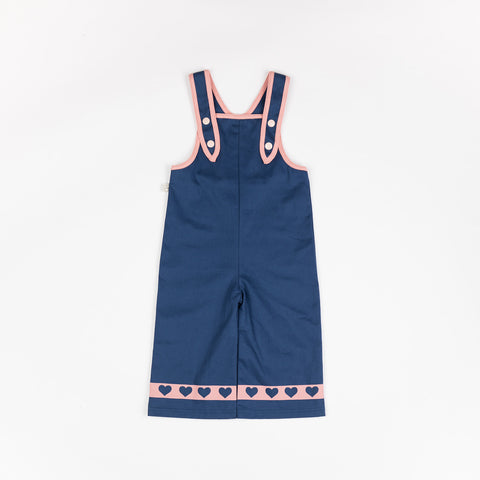 Alba of Denmark Charley Crawlers Estate Blue Dungarees Hearts