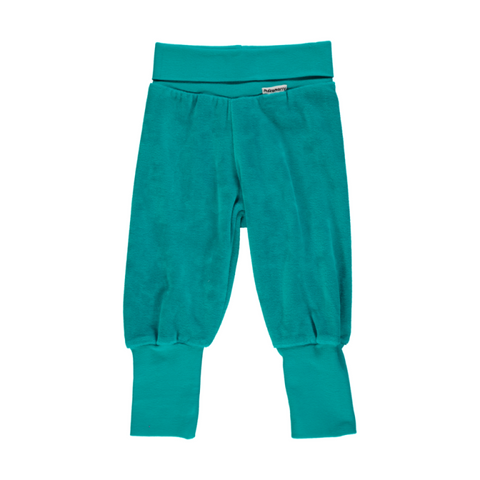 Maxomorra Basic Velour Turquoise Baby Trousers