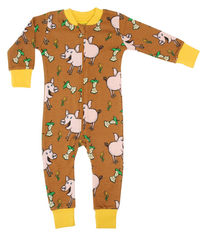 Duns Sweden Pig Chipmunk Brown Zip Suit Romper