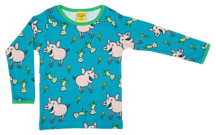 Duns Sweden Pig Teal Blue Top Long Sleeves