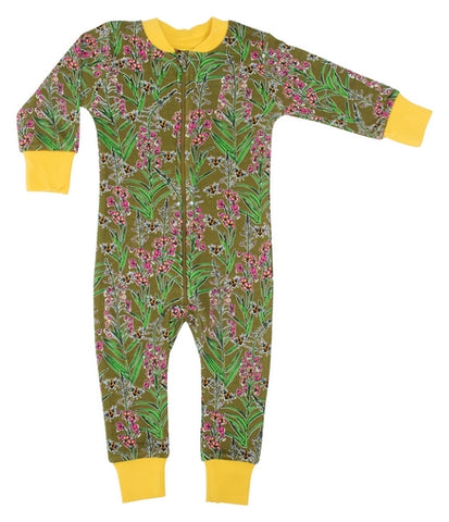 Duns Sweden Willow Herb Olive Branch Baby Romper Zip Suit
