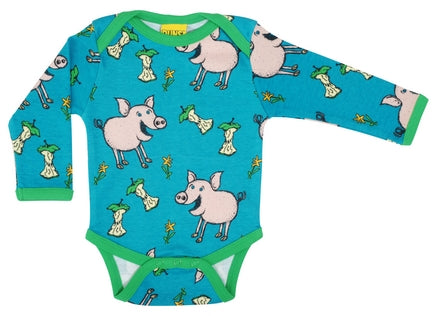 Duns Sweden Pig Teal Blue Baby Body Vest