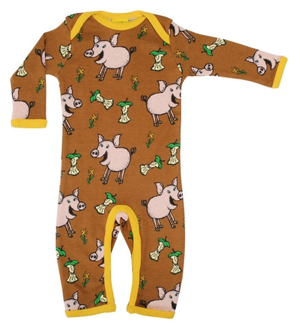 Duns Sweden Pig Chipmunk Brown Baby Romper