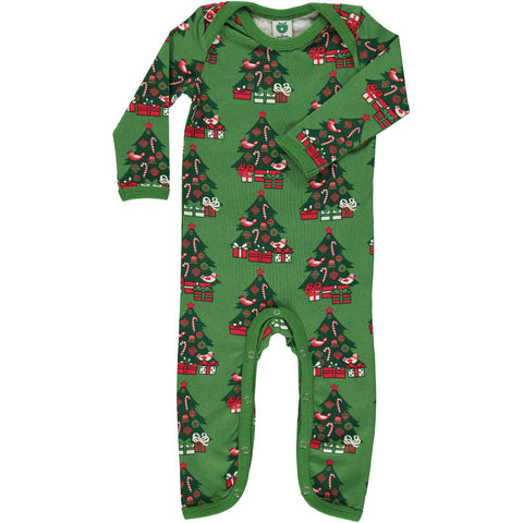 Smafolk Christmas Tree Baby Romper Suit Green