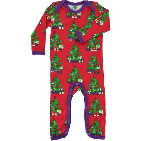 Smafolk Christmas Tree Baby Romper Suit Red