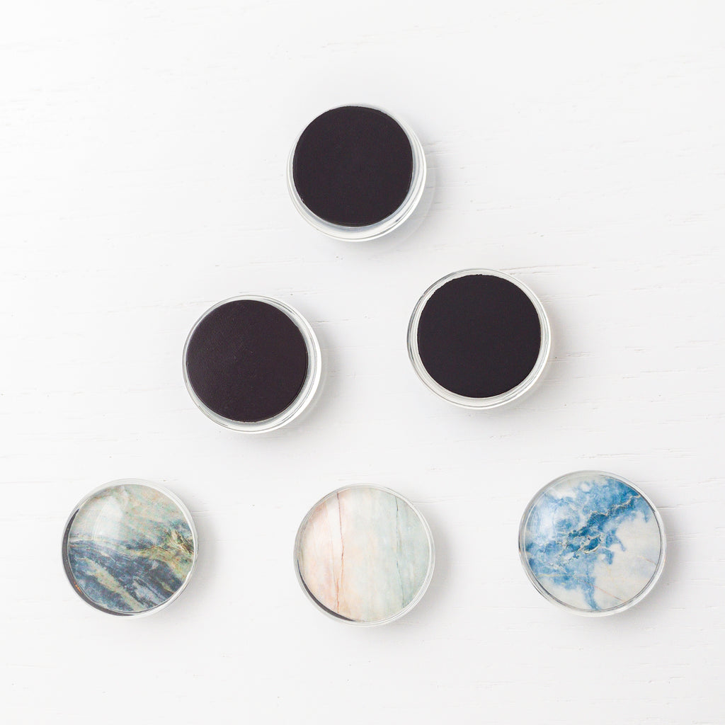 Magnets Glass And Faux Marbled Granite 6pcs Brikhous