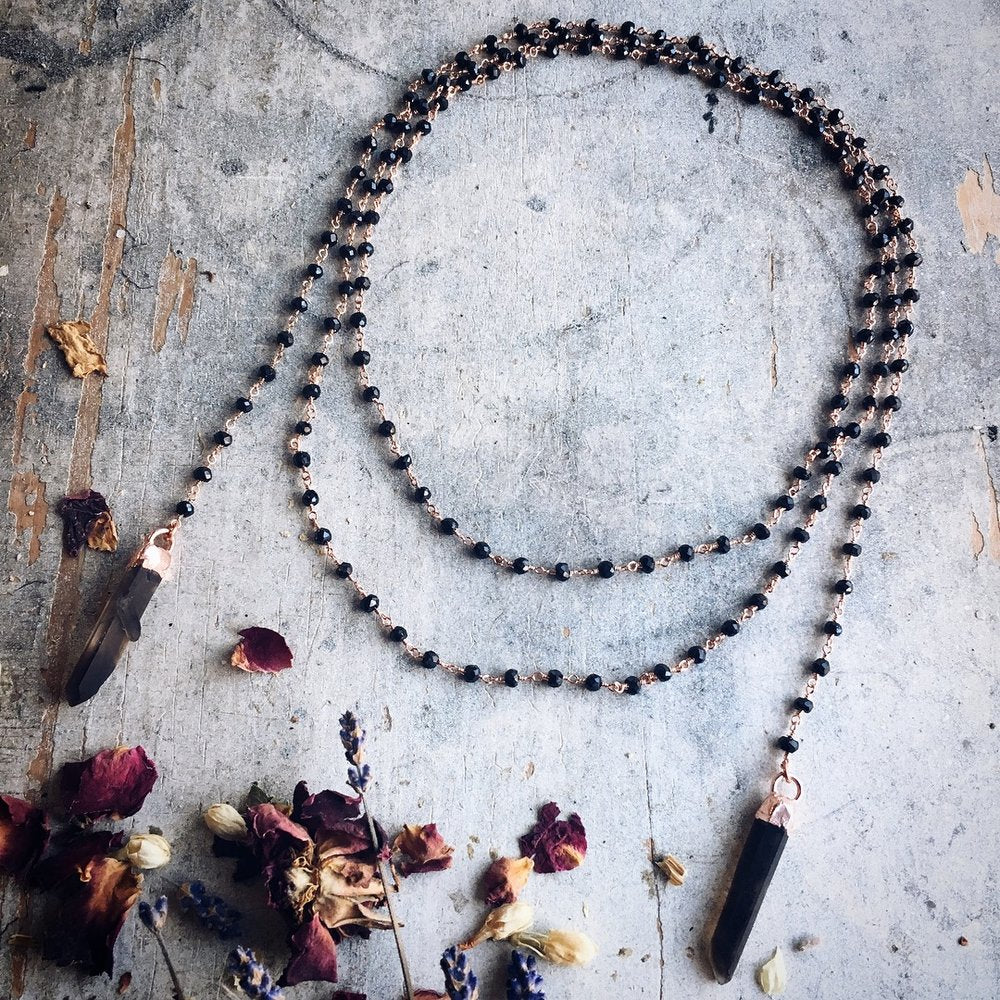 Smoky Quartz + Black Spinel Wrap Necklace