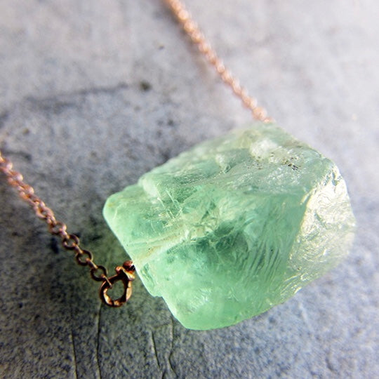 Raw Green Fluorite on Dainty Rose Gold