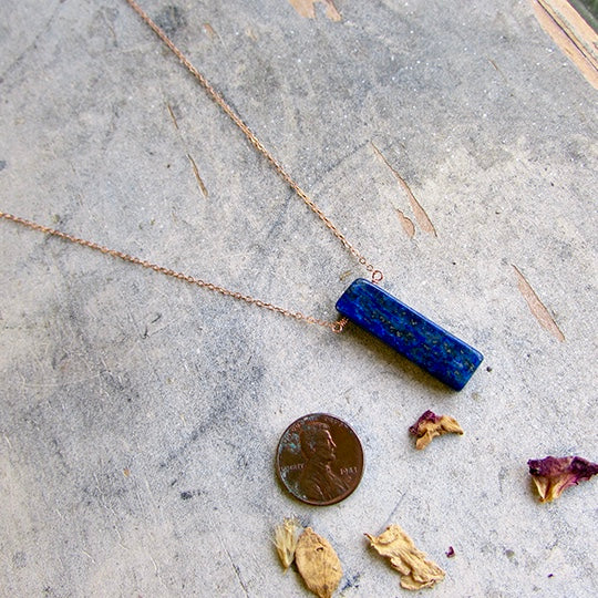 Lapis on Dainty Rose Gold