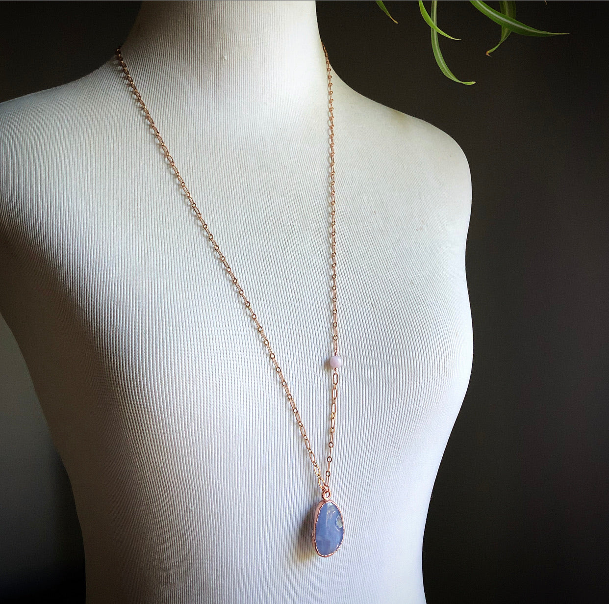 Blue Lace Agate Crystal Pendant