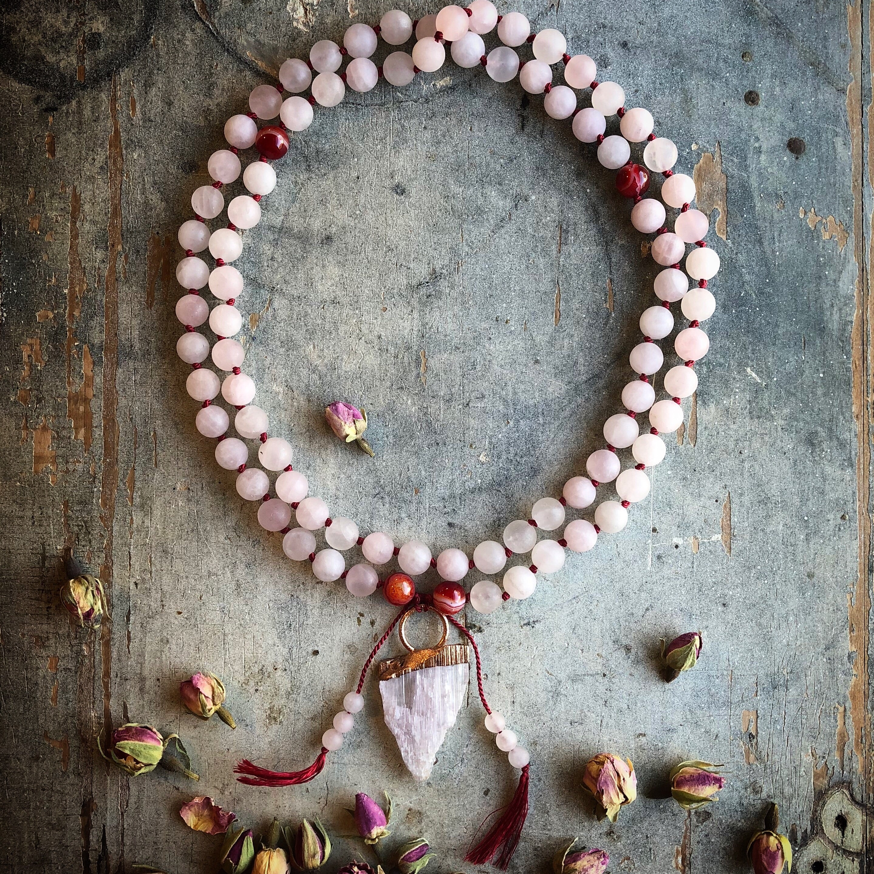 """Heart-Full"" Pink Kunzite + Rose Quartz Spirit Beads"