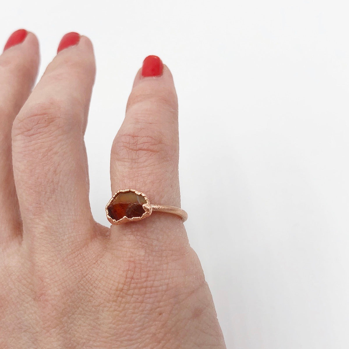 Raw Carnelian Ring SIZE 5