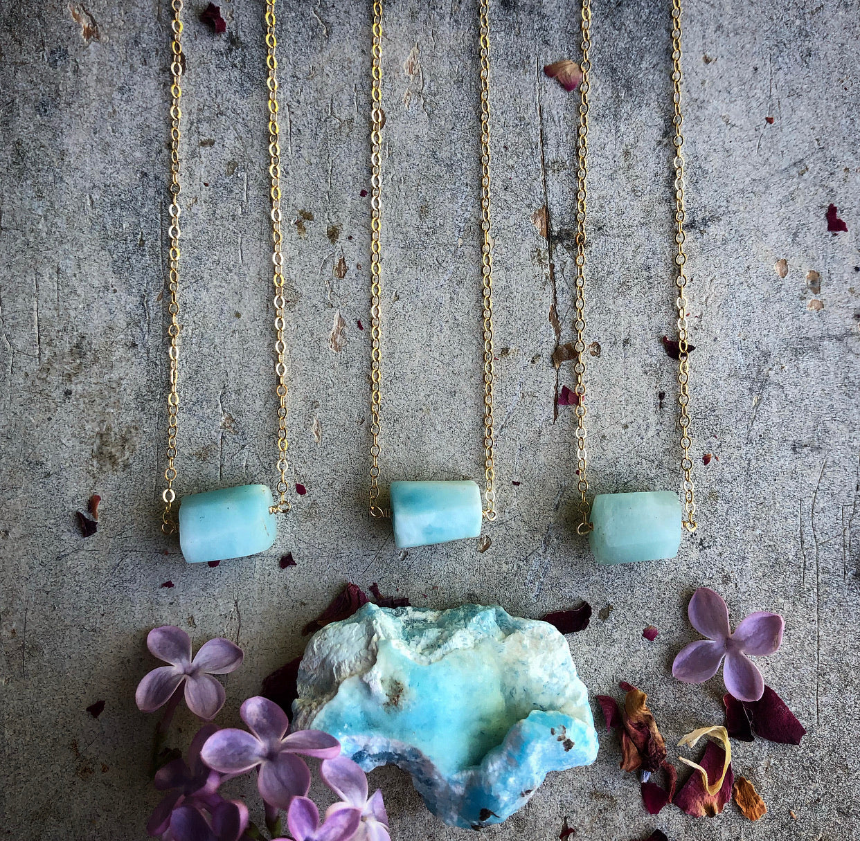 Hemimorphite Necklace in Gold