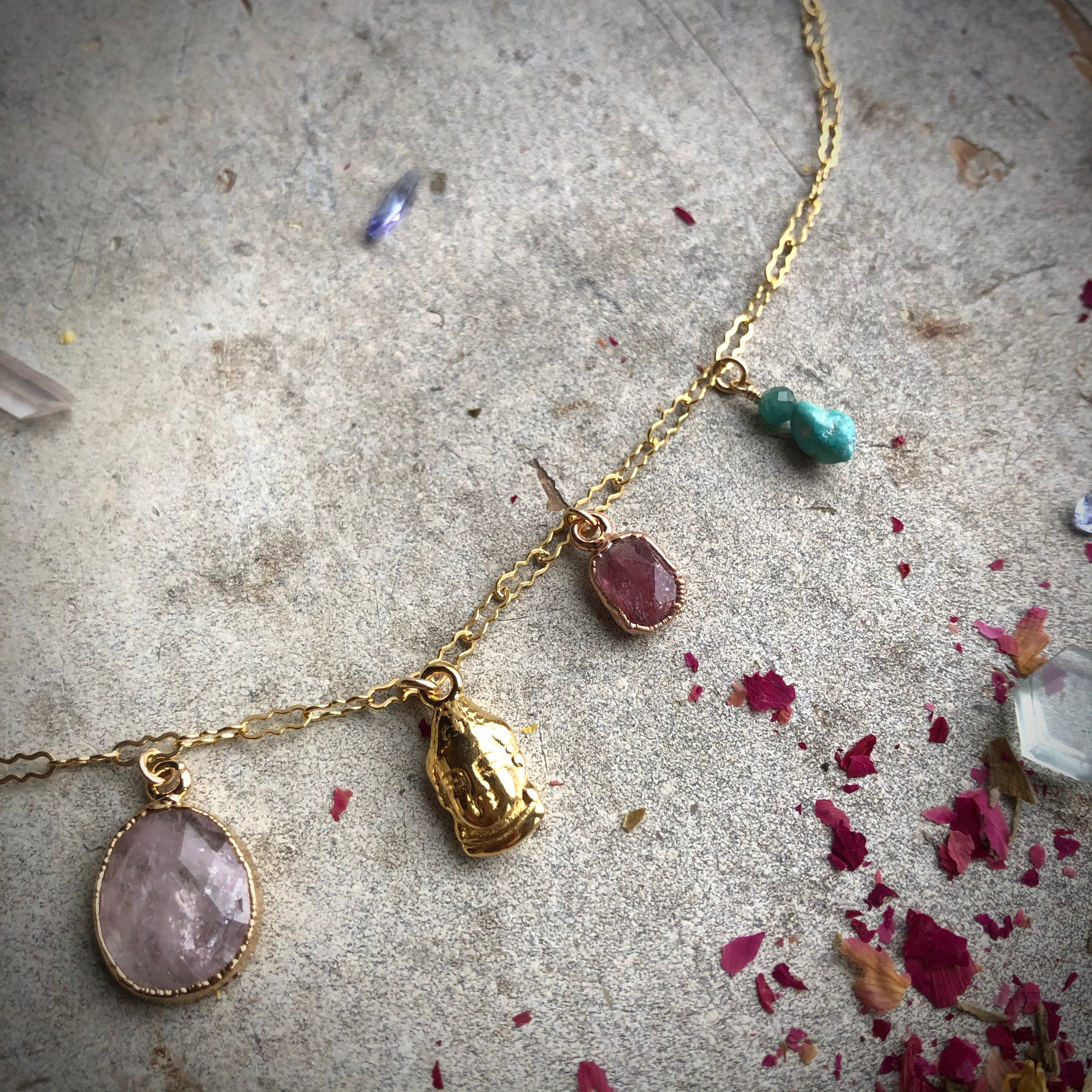 Traveler Necklace, Morganite & Tourmaline
