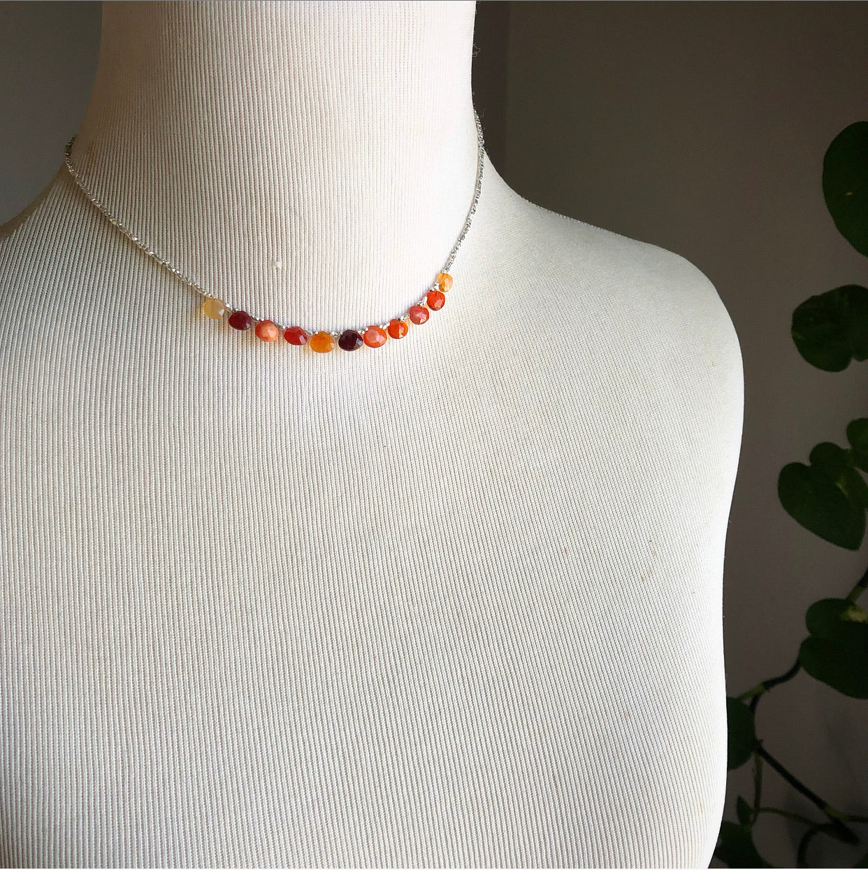 Mexican Fire Opal Necklace in Silver (I)
