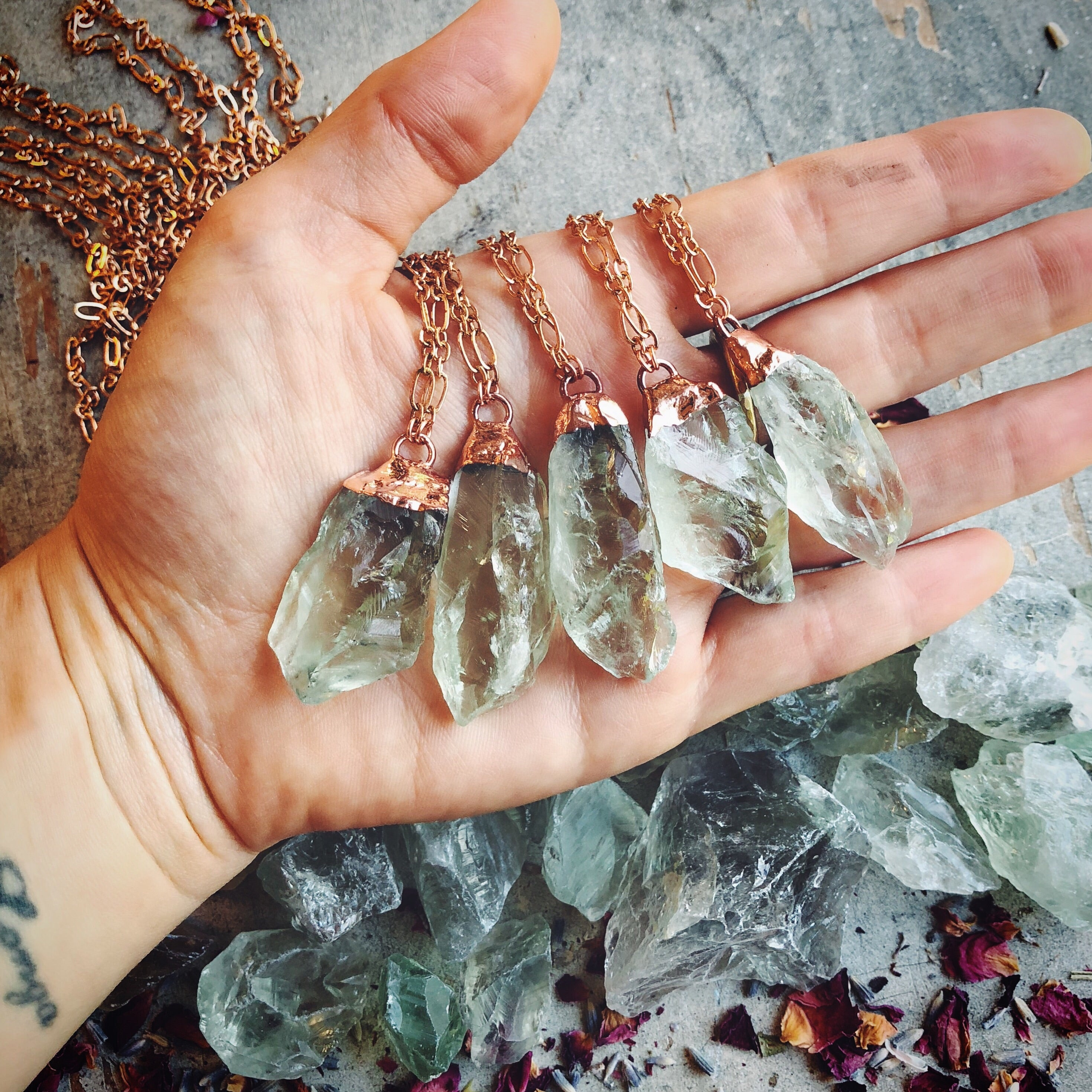 Raw Prasiolite Crystal Necklace