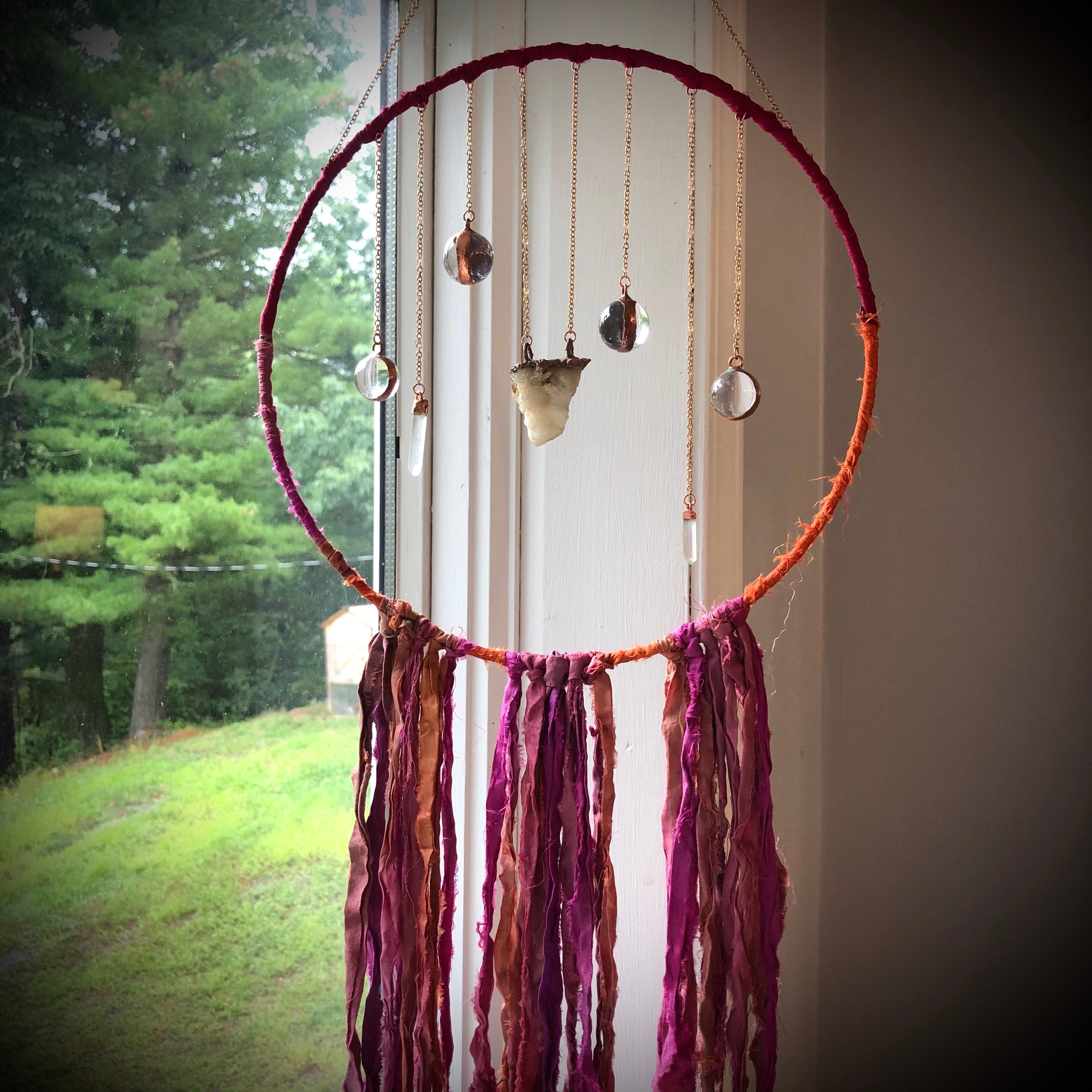 """Rose Colored Soul"" Crystal & Silk Dreamcatcher"
