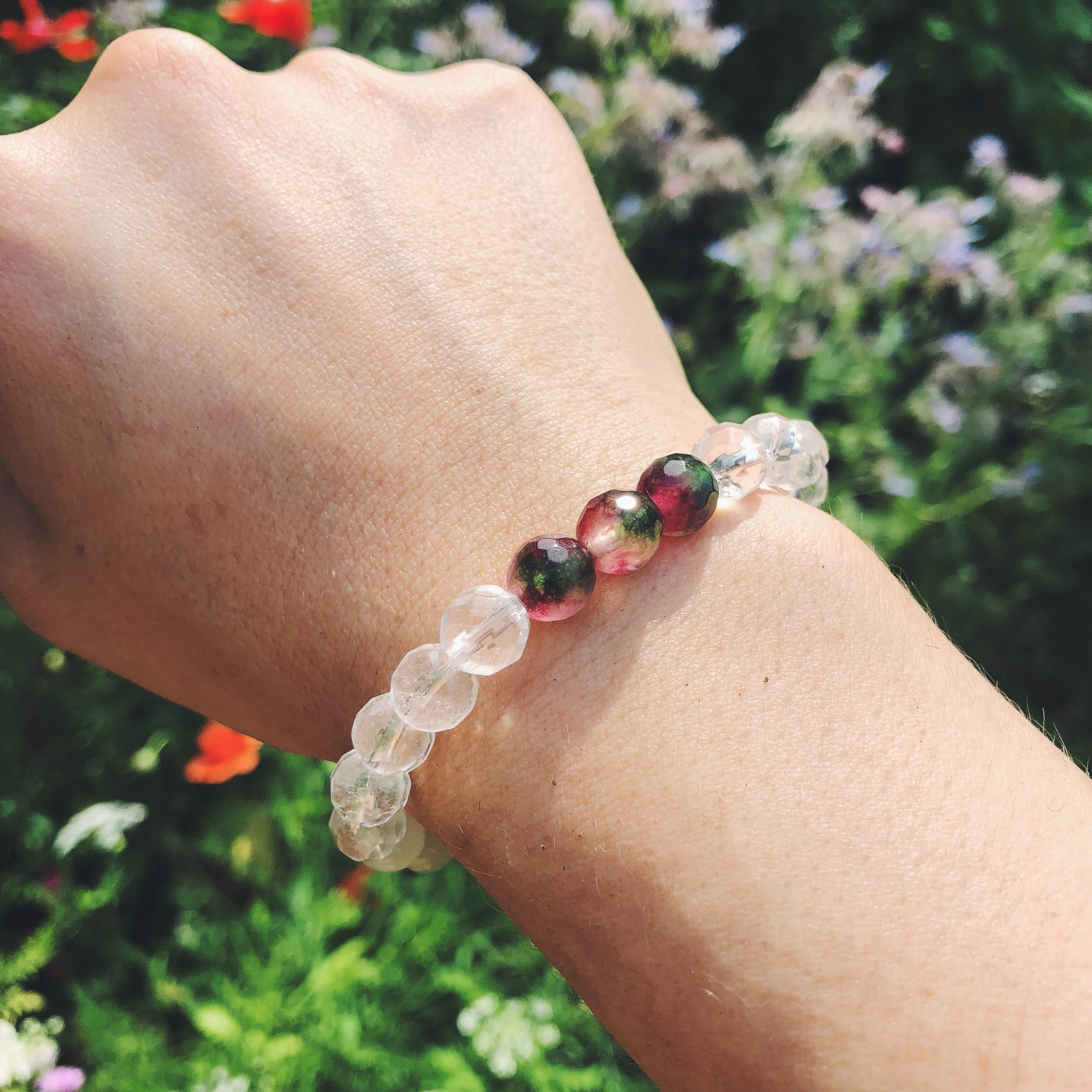 Watermelon Tourmaline + Quartz + Selenite Spirit Bracelet
