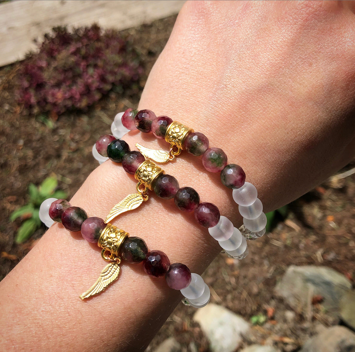 "Watermelon Tourmaline ""Winged"" Bracelet"