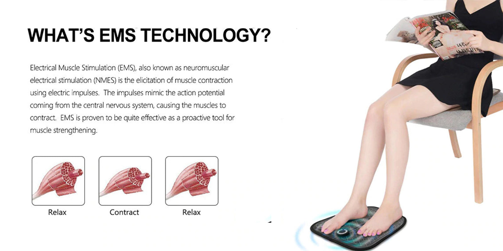 WHAT'S EMS TECHNOLOGY?  Electrical muscle Stimulation (EMS), also  known as neuromuscular Electrical stimulation (NMES) is the elicitation of muscle contraction using electric impulses.