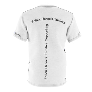 Fallen Heroe's Families Supporting Fallen Heroe's Families - Blue Line Flag T Shirt - Cora Rayne Collection - Unisex AOP Cut & Sew Tee