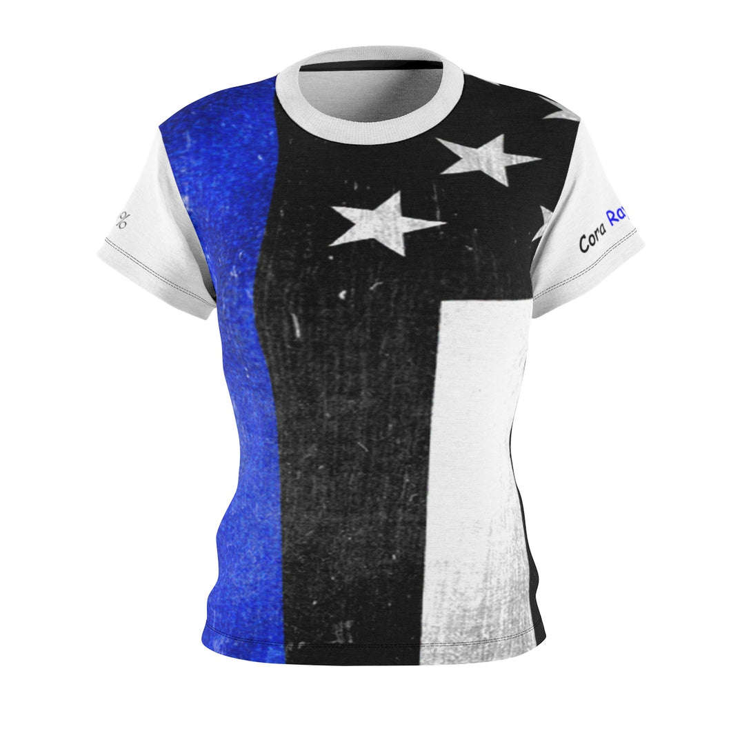 Women's  Fallen Heroe's Families Supporting Fallen Heroe's Families - Blue Line Flag T Shirt - Cora Rayne Collection - Cut & Sew Tee