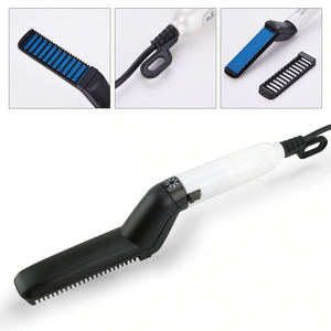 Multifunctional hair & beard brush straightener
