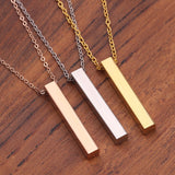 GIFT  Personalized Square 3D Bar Necklace